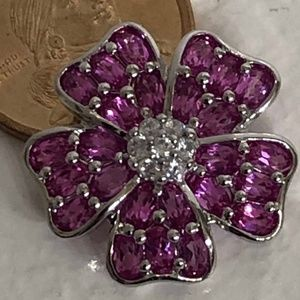 Brooch - 925 Silver with pink/white crystals NWOT